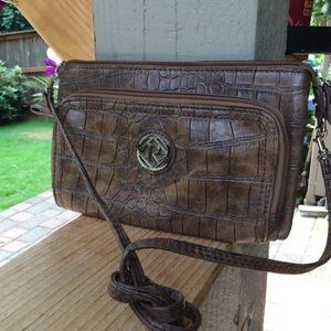 Relic crossbody faux reptile brown lining
